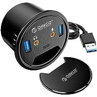 Orico Desk Grommet USB 3.0 Hub with 2 Type-A Port, 1 Type-C Port, Mic&Audio Jack, 4.9ft Extension Cord