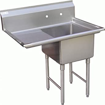 Allstrong 1 Compartment Stainless Steel Sink 15u0026quot; X 15u0026quot;w/ Left  Drainboard NSF