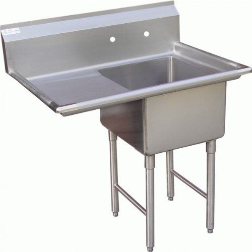Height Stainless Steel Backsplash (ACE 1 Compartment Stainless Steel Sink with Left Drainboard, 18 by)