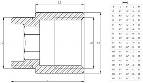 extension de filetage femelle en laiton m/âle x chrome 10 mm de long 1//2 BSP 15mm