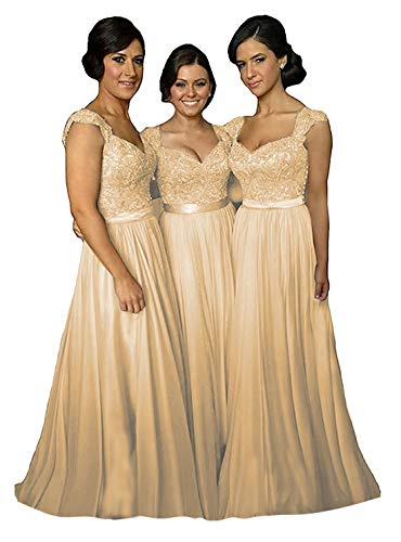 Delivery Bridesmaid Dress - Fanciest Women' Cap Sleeve Lace Bridesmaid Dresses Long Wedding Party Gowns Champagne US12