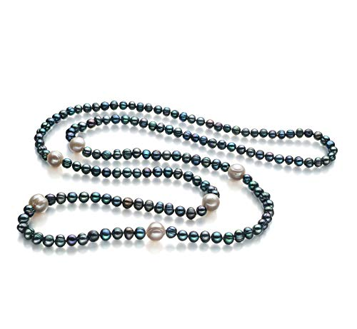 - Chloe Black and White 6-11mm A Quality Freshwater Cultured Pearl Necklace for Women-40 in Length