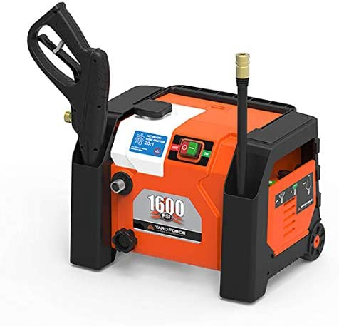 YARD FORCE YF1600A1 1600 Psi Compact Electric Pressure Washer, 1.2 GPM, Built-in Storage, One Size, Orange Black