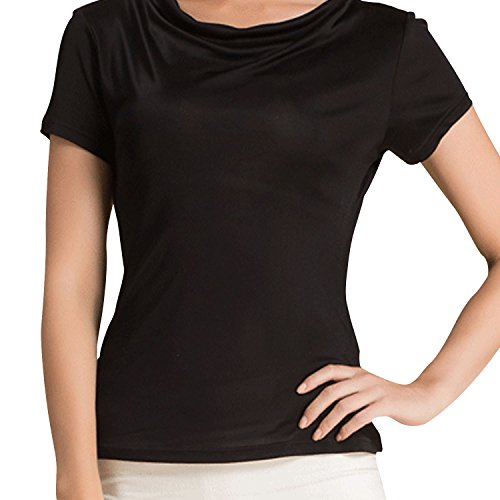 METWAY Women's T Shirt Short Sleeve Comfy Fit Swing Neck Silk Tops Large Black - Silk Drape Neck