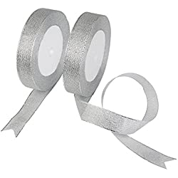 Organza Ribbon,KAKOO 2 Pack 25 Yard 20mm Wide Glitter Trimmings Decorative Ribbons for Gift Wrapping (Silver)