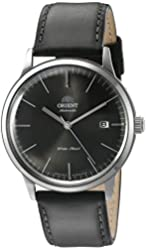 Orient Men's 'Bambino Version 3' Japanese Automatic Stainless Steel and Leather Dress Watch, Color:Black (Model: FER2400KA0)