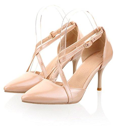 YE Frauen Spitzen Zehe Riemchen Kitten Heel 8cm High Heels Stiletto Court Shoes Pumps Beige