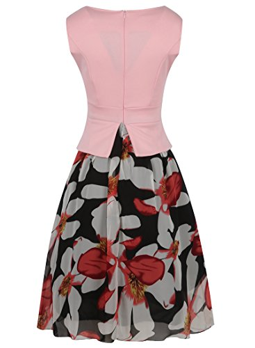 Dress Floral Elegant Sleeveless A Pink Two Womens Chiffon line Dantiya Pieces False Chic q6PBwwZa