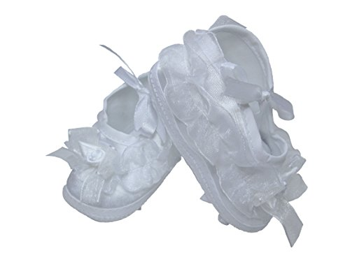 Girls Organza Trim Bootie Ideal for Christening Baptism Blessing or any Special Occasion - Size 00