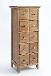 sherwood oak dvdcd storage unit with 10 drawers baumhaus mobel oak dvd