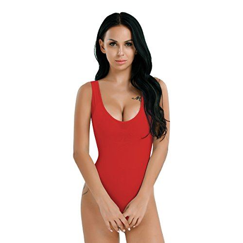 a3ae036ae YiZYiF Womens Smooth Mesh Sheer Bodysuit Leotard Top Crotchless Unlined  Thongs (See-through Red