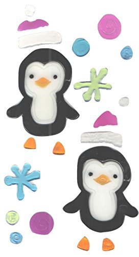 Winter Reusable Gel Window Clings ~ Penguins, Multicolor Snowballs and Snowflakes (20 Clings, 1 (Penguin Window)