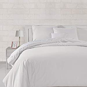 Amazon Basics Lightweight Percale Cotton Duvet Comforter Cover Set, Full / Queen, White