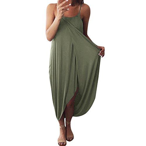 MOVEmen Women Summer Dress Loose O-Neck Sleeveless Solid Color Sling Long Skirt Elegant Holiday Casual Pleated Sundresses (Green, S)