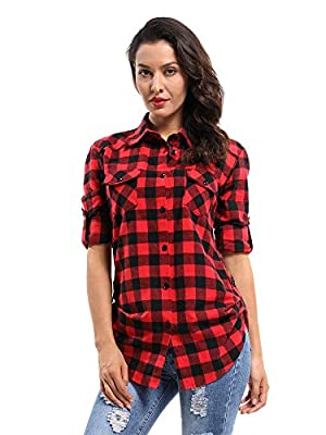 Women's Casual Buffalo Plaid Flannel Shirts Roll Up Long Sleeve