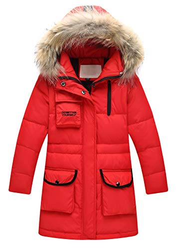 Jacket Trim Animal (Child Kid Girl Simple Solid Hooded Thick Winter Parka Mid Long Duck Down Puffer Padded Jacket Overcoat with Fur Trim(Style E Animal Fur Red,Height 51.18
