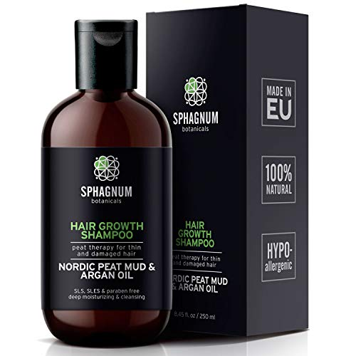 Argan Oil Hair Loss Shampoo - 100% Natural Sulfate Free Treatment with Effective Peat Mud for Thin and Damaged Hair. No SLS/Parabens. Powerful Organic DHT Blocker. Best Shampoo for Hair Growth. (Argan Oil Hair Color Medium Chocolate Brown)