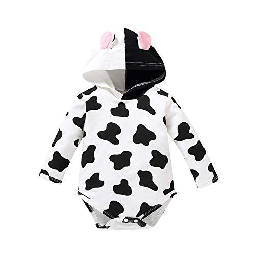 DERCLIVE Pasgeboren Baby Romper Peuter Lange mouw Koe Hooded Jumpsuit