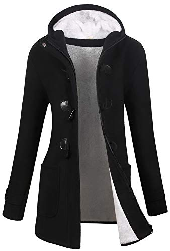 VOGRYE Womens Winter Fashion Outdoor Warm Wool Blended Classic Pea Coat Jacket (FBA) (XL, Black2-Thicker)