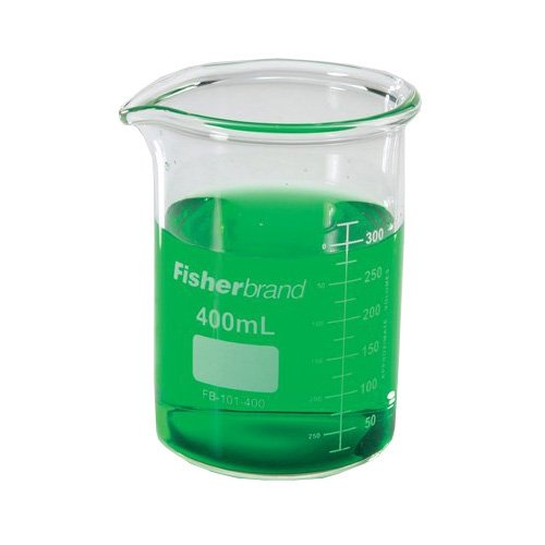 Pack of 12 Fisher Scientific FB-101-400 Glass Reusable Heavy Duty Low-Form Beakers 400 mL