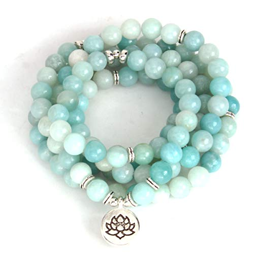 GVUSMIL 108 Mala Beads Bracelet Amazonite with Lotus Pendant Charm Healing Necklace ()