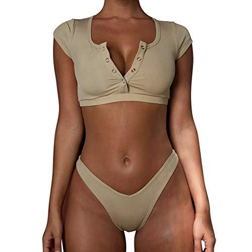 - TnaIolral Women Bikini Sport Print Bathing Swimsuit Set Swimwear Beige