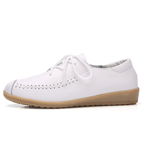 York Zhu Women Fashion Sneakers, Round Toe Lace up Casual Shoes, Ladies Moccasins Loafers