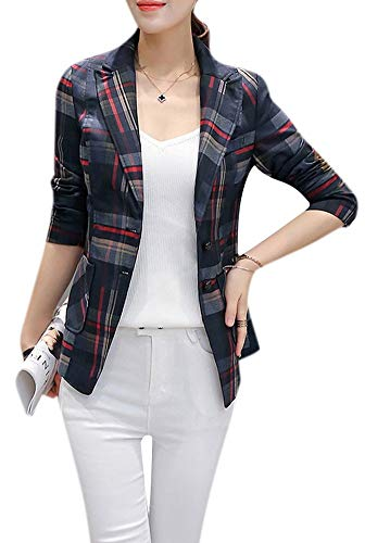 (Enlishop Women's Elegant Long Sleeve Slim Fit Black White Plaid Blazer Jacket)