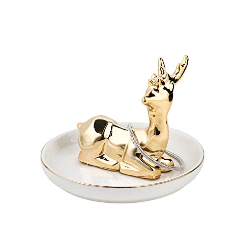 Sweejar Jewelry Ring Holder, Jewelry Stand Evelots Organizer Band Trinket Trays (Antler/Full Deer)