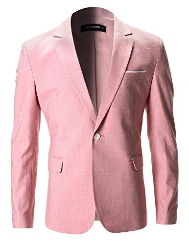 (FLATSEVEN Mens Slim Fit Cotton Stylish Casual Blazer Jacket (BJ202) Pink, L)