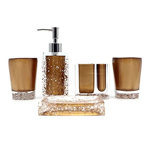 Hot San Resin 5 Pieces Bathroom Accessory Set   Ice Crystal In Gold Design  Ensemble,Bathroom Vanities,Home Decor
