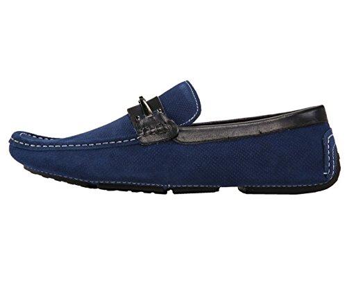 Asher Vert Hommes Mocassins En Cuir Véritable Et Chaussures En Daim Bleu Marine Conduite / Suède En Relief