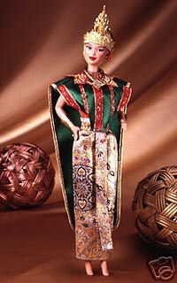 Barbie Year 1997 Collector Edition Dolls of the World 12 Inch Doll - THAI Barbie with Thailand Traditional Outfits, Cape, Jewelry, Headpiece, Hairbrush and Doll - Thailand Shape