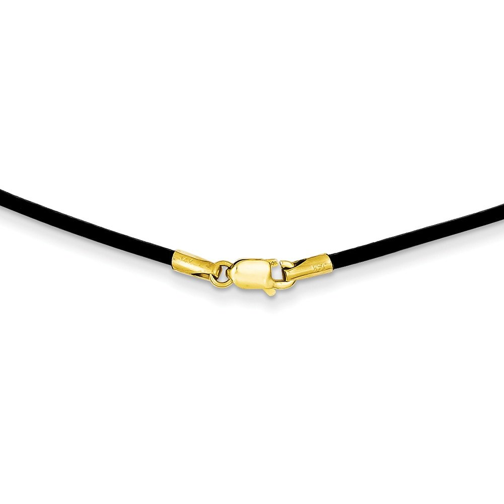 Lex & Lu 14k Yellow Gold Clasp w/1.5mm Black Leather Cord Necklace