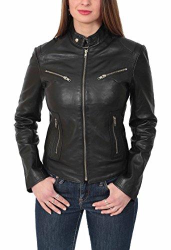 Leather Of Khloe del Biker Genuino Estilo House Mujer Cuero Casual Negro Chaqueta Ajustado 45WUgdH