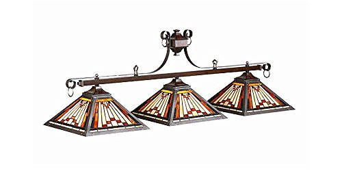 Three Shade Billiard Light w Stained Glass Pyramid Shades - Glass Lamp Stained Custom Billiard
