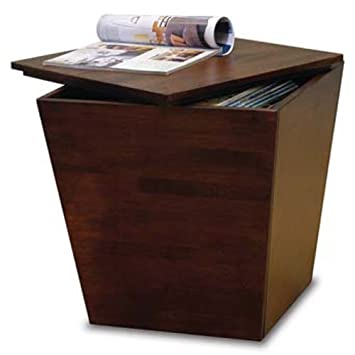 Homevisions Antique Walnut Finish Cube Tapered Table