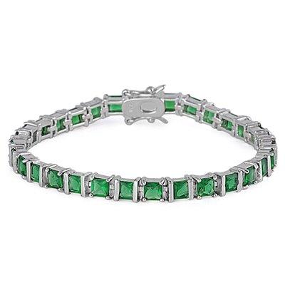 "Bracelet Tennis Femme - Argent Fin 925/1000 - Oxyde de Zirconium - Emeraude ""18.5 CM"""