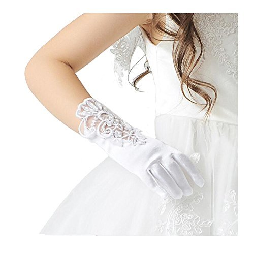 Girl's White Lace Beading Holy First Communion Christenings Princesses Dress up Gloves Size M
