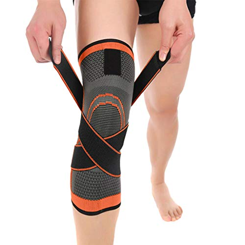 Driuankeji Men Compression Knee Sleeve Support Sport Running Basketball Lift Knee Pads Orange (Orange Pads Knee Mcdavid)