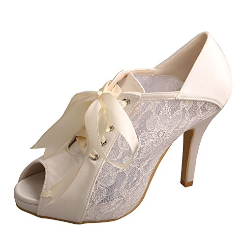 Wedopus MW719 Women's Peep Toe Lace-Up Boots High Heel Lace Platform Wedding Bridal Pumps Shoes Size 6 Ivory by Wedopus