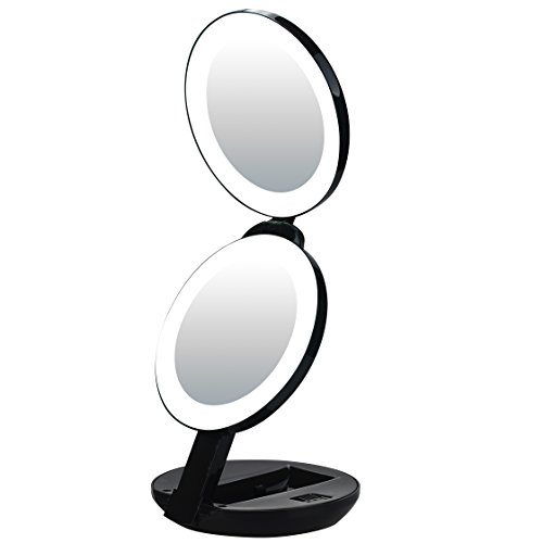 LED Lighted Travel Makeup Magnifying Mirror,Magnifies 10x and 1x, Luxury Double Side and Folding Pocket Vanity/Cosmetic Mirror (black) ()