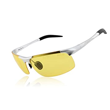 4648ab0c2ad7 Duco Night-vision Glasses Polarized Night Driving Men's Shooting Glasses  8177 Silver Frame Yellow Lens