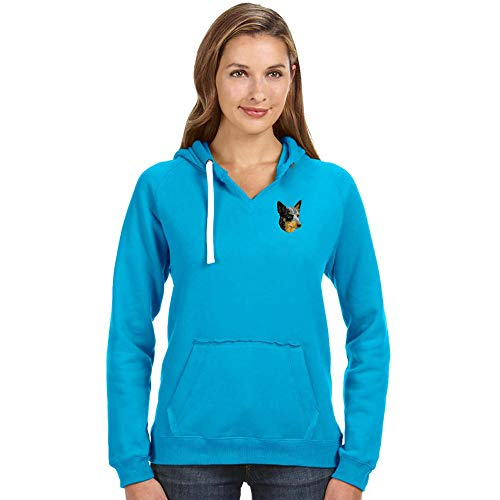 Cherrybrook Breed Embroidered Ladies J America Pullover Hoodie - Large - Turqberry - Australian Cattle ()