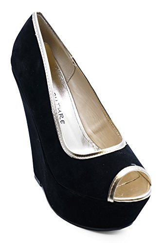 Ladies Black Gold Peeptoe Slip-On Wedge High Heel Platform Court Shoes Sizes 3-8 Wr55oJ2