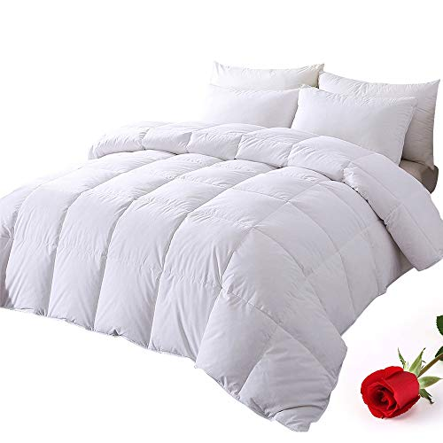 DOWNCOOL 100% Cotton Quilted Down Comforter with Corner Tabs - White Goose Duck Down Feather Filling - Lightweight and Medium Warmth Box Stitched All-Season Duvet Insert - Cal-King