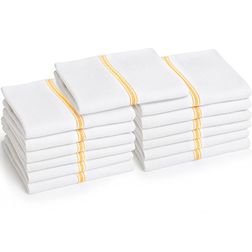 Liliane Collection Kitchen Dish Towels - Commercial Grade Absorbent 100% Cotton Kitchen Towels - Classic Tea Towels (13, Yellow) Bistro Kitchen