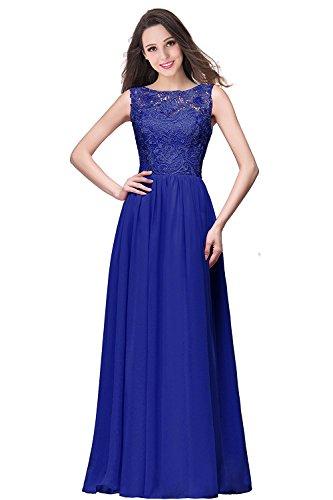 Ärmellos 32 Abendkleider Spitzen Ballkleider Gr Festkleid Royalblau Lang MisShow Damen Brautjungfernkleider 46 OHxXwqSWg
