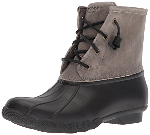 Sperry Women's Saltwater Rain Boot, Black/Grey, 11 M US (Size 11 Boots For Women)