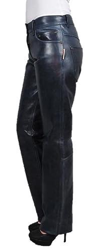 Herren-Lederhose Fuente 501 Lederjeans Rindnappaleder Biker Echtleder schwarz